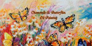Impressionist Oil Painting Butterflies and Flowers by Ginette